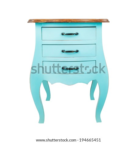 Vintage wooden chest drawer isolated on white background - stock photo