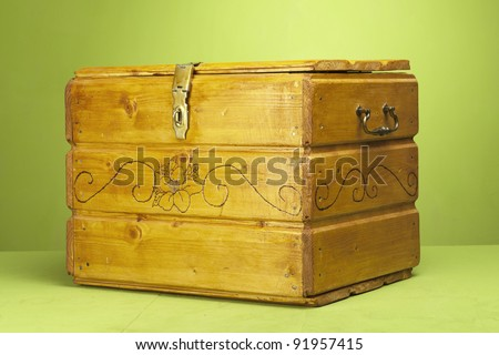 vintage wooden chest in a studio set up