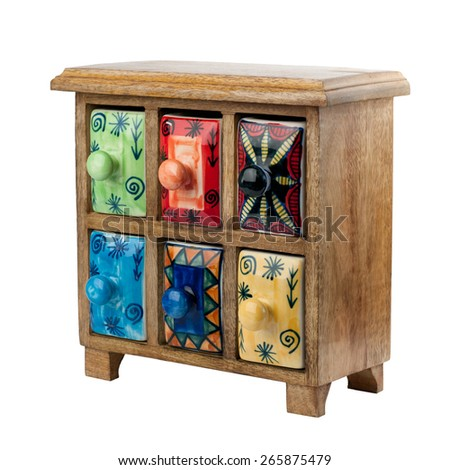 Vintage wooden chest of drawers isolated on white background - stock photo