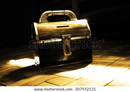 Vintage Wooden Chest,Treasure Box Concept Background,Dramatic Look - stock photo