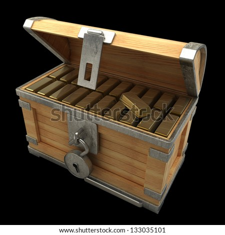 vintage wooden chest with gold isolated on a black background high resolution 3d render - stock photo