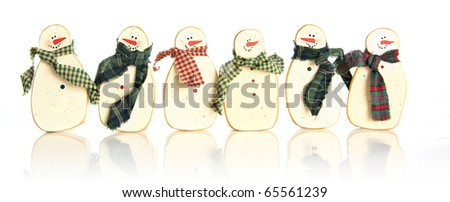 Vintage wooden Christmas snowman. - stock photo