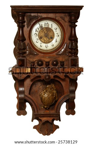 Vintage wooden clock isolated on white background - stock photo