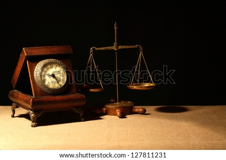 Judge Gavel Scales Books On Wooden Stock Photo 553762696