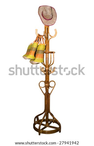Vintage wooden coat rack on white - stock photo