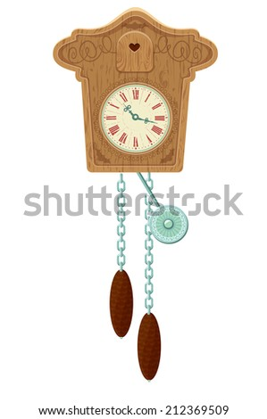 vintage wooden Cuckoo Clock - object isolated on white background. Raster version - stock photo