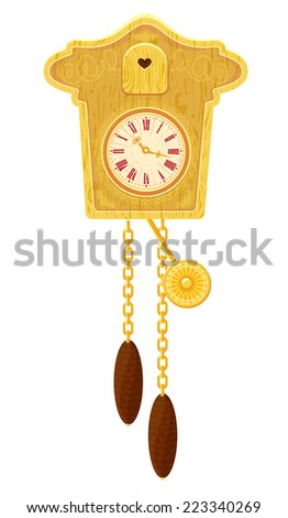 vintage wooden Cuckoo Clock - object isolated on white background . Raster version - stock photo