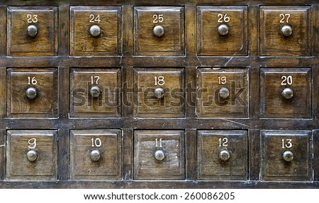 Vintage wooden drawers with number