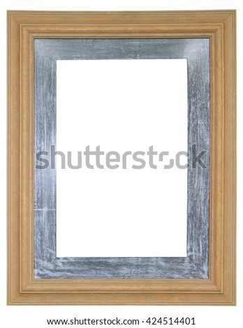 Vintage wooden frame decorated with black border - stock photo