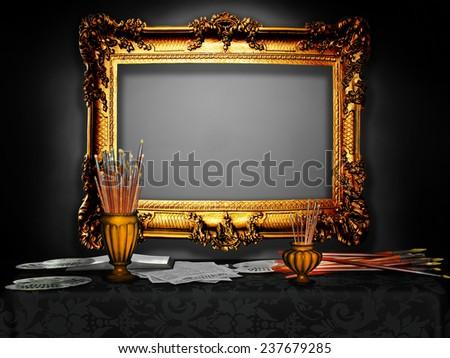 Vintage wooden frame in the artist's studio,black - stock photo