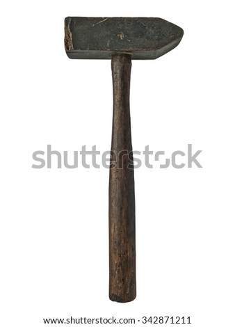 vintage wooden hammer isolated over white background - stock photo
