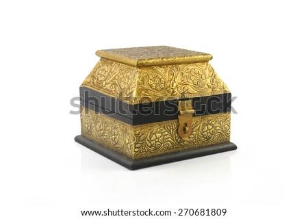 Vintage wooden Jewel Box - stock photo