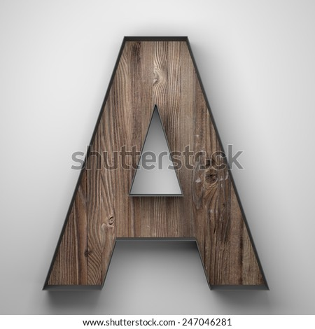 Vintage wooden letter a with metal frame - stock photo