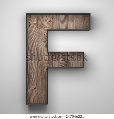 Vintage wooden letter f with metal frame - stock photo