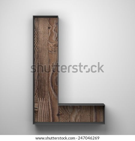 Vintage wooden letter l with metal frame - stock photo