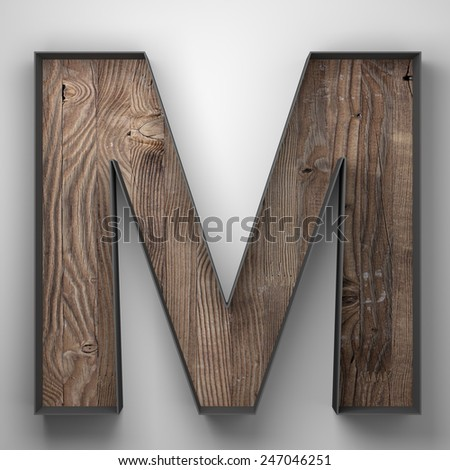 Vintage wooden letter m with metal frame - stock photo