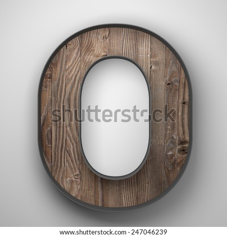 Vintage wooden letter o with metal frame - stock photo