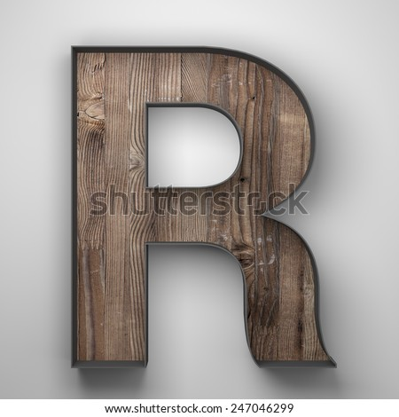Vintage wooden letter r with metal frame - stock photo
