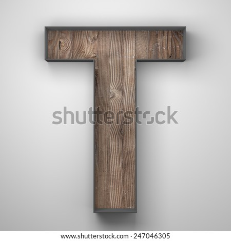 Vintage wooden letter t with metal frame - stock photo