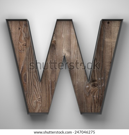 Vintage wooden letter w with metal frame - stock photo