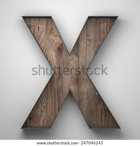 Vintage wooden letter x with metal frame - stock photo