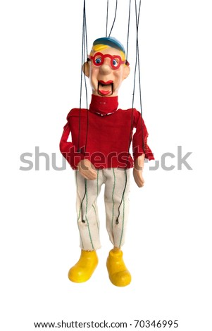 Vintage wooden man marionette - stock photo