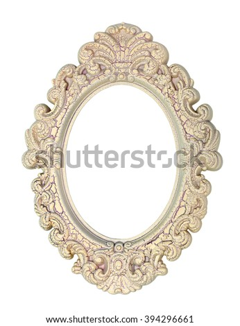 Vintage wooden moulding for picture oval shape, isolated on white background - stock photo