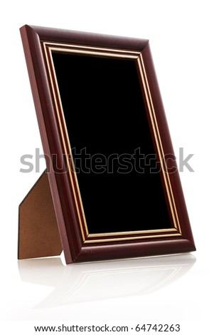 vintage wooden photo frame on white background with reflection