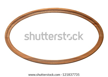 Vintage wooden picture frame  isolated over white background - stock photo