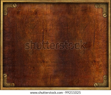 Vintage wooden plate with brass frame and screws - stock photo