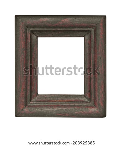 vintage wooden rectangle heavy frame isolated over white background, clipping path - stock photo