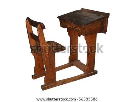 Vintage wooden school desk and chair, isolated on a pure white background - stock photo