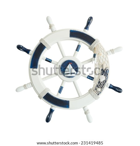 Vintage wooden ship steering wheel isolated on white background with clipping path - stock photo