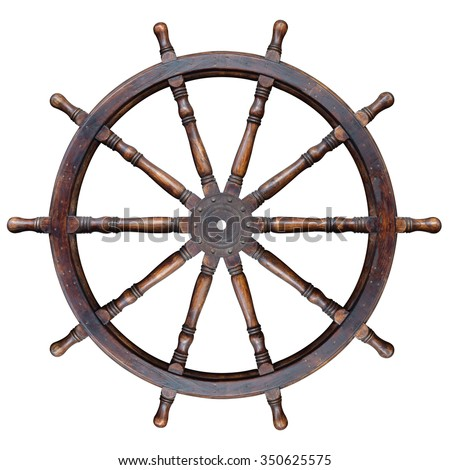 Vintage wooden ship steering wheel rudder isolated on a white background. This has clipping path. - stock photo