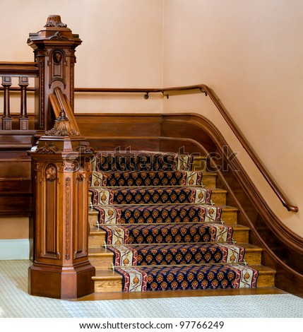 Vintage wooden staircase in California State Capitol - stock photo