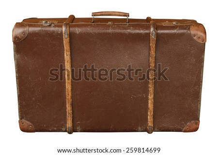 Vintage wooden suitcase isolated on white background - stock photo