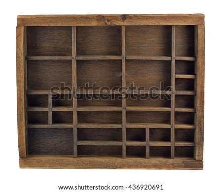 vintage wooden typesetter case (drawer) or shadow box isolated on white - stock photo
