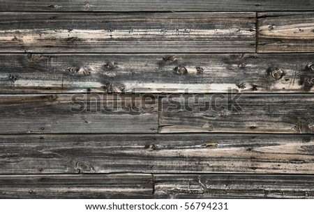Vintage wooden wall texture with siding, nails and knots - stock photo