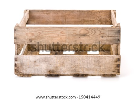 vintage wooden wine crate - stock photo