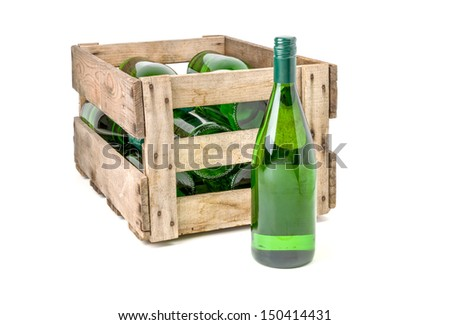 vintage wooden wine crate filled with white wine bottles - stock photo