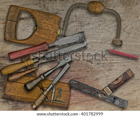 vintage woodworking  tools over wooden bench, space  for your text - stock photo