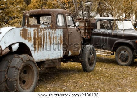 Vintage work trucks - stock photo