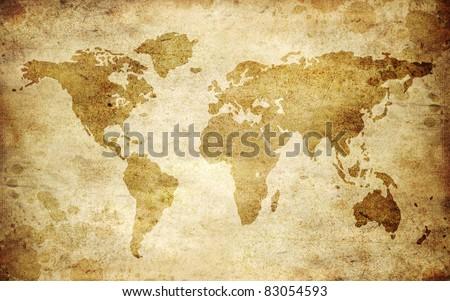 Vintage world map - stock photo