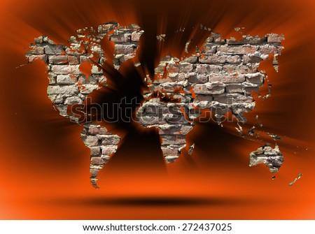 vintage world map background  - stock photo