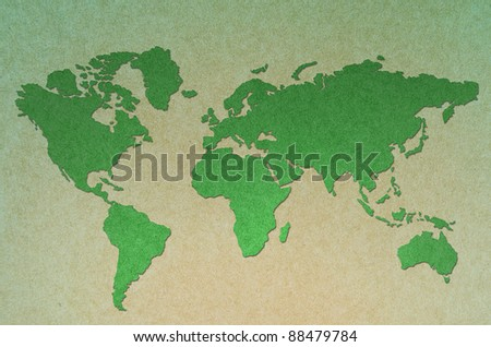 vintage world map green  background - stock photo