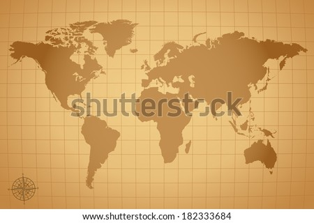 Vintage world map illustration eps vector stock illustration vintage world map illustration eps vector version also available in portfolio gumiabroncs Choice Image