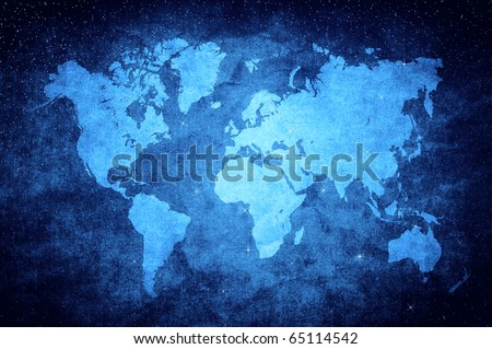 vintage world map in blue glittering star style - stock photo
