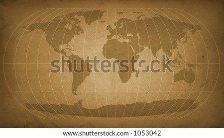 vintage world map in sepia - stock photo