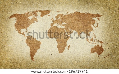 Vintage world map. Old paper texture background - stock photo