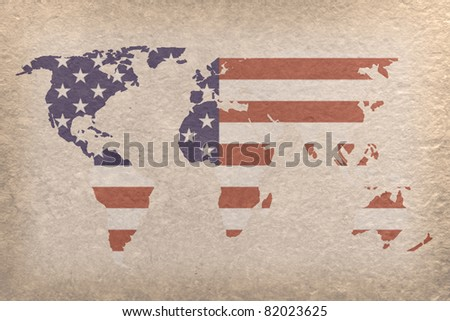 vintage world map with USA flag on paper craft (map from NASA) - stock photo